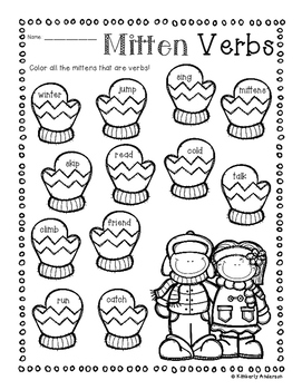 No-Prep Wintertime Verb Practice