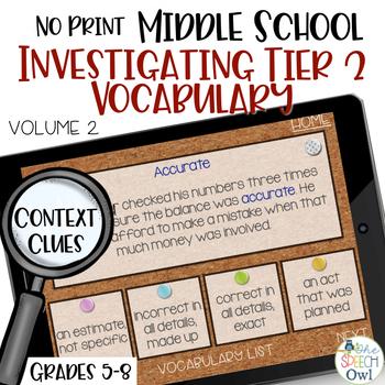 No Print Investigating Tier 2 Vocabulary: Context Clues (5