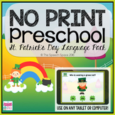 No Print Preschool St. Patrick's Day Language Pack - CCSS