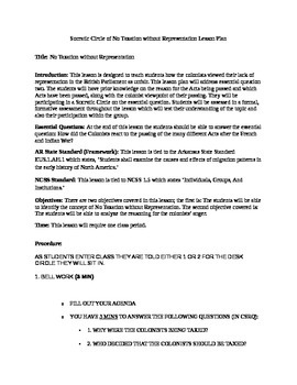 No Taxation without Representation Socratic Circle Lesson Plan