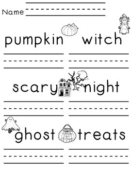No Trick...All Treat  * Writing Practice for your little o