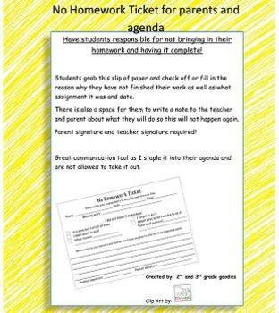 No homework warning ticket for student - teacher - parent