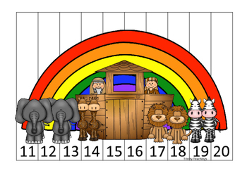 Noah's Ark themed 11-20 Sequence Puzzle printable game. Bi