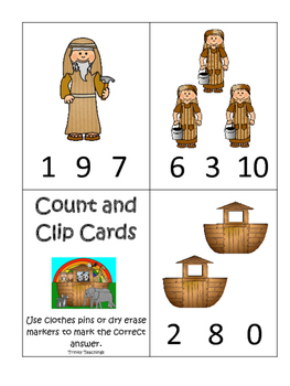 Noah's Ark themed Count and Clip printable game. Preschool