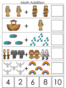 Noah's Ark themed Math Addition printable game. Christian