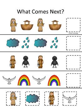 Noah's Ark themed What Comes Next printable game. Christia