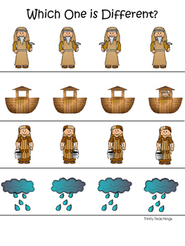 Noah's Ark themed Which One is Different printable game. C
