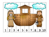 Noah's Ark Number Sequence Puzzle 1-10 Printable Game. Pre