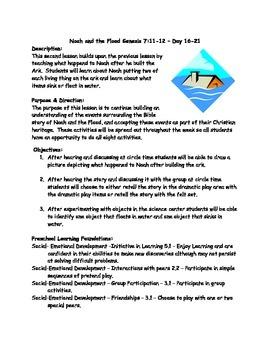 Noah & the Flood Preschool Lesson Plan & Activities
