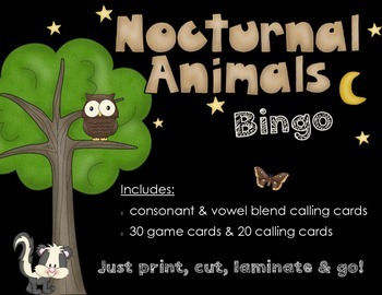 Nocturnal Animals Bingo Game