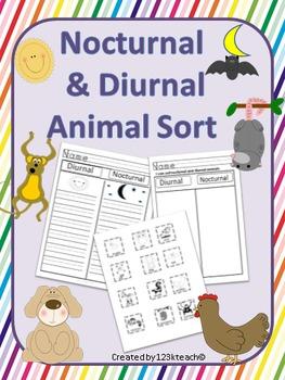 Nocturnal / Diurnal Animal Sort-Cut & Paste, Writing Fun
