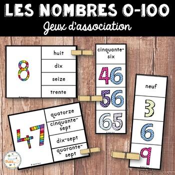 Nombres 0 - 100 - 2 jeux d'association/Ensemble (French numbers)