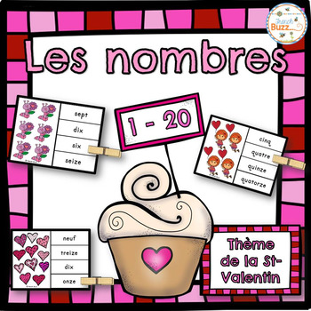 Nombres - 1-20 - Jeu d'association (Saint-Valentin) - Fren