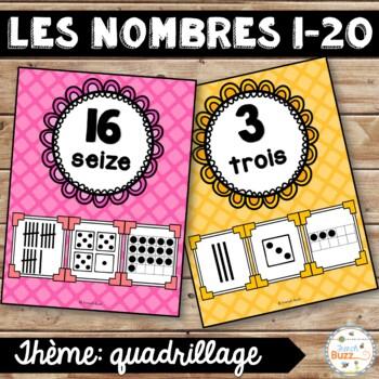 Nombres 1-20 - Affiches - Thème: quadrillage - French Numb