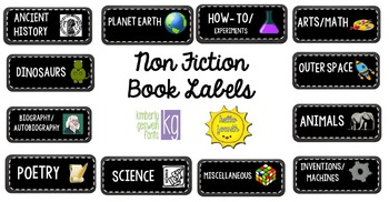 Non Fiction Book Labels Black Chalkboard