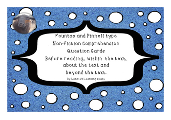 Fountas and Pinnell type Non Fiction Comprehension Questio