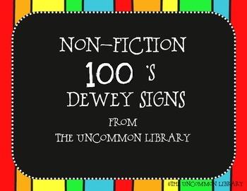 Non-Fiction Dewey Signs - Rainbow Print