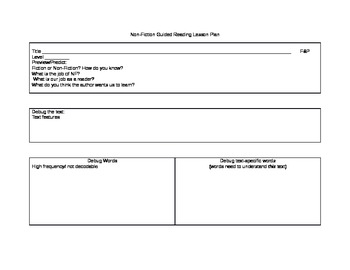 Non-Fiction Guided Reading Lesson Plan