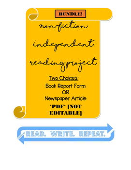 Non-Fiction Independent Reading Project BUNDLE PDF: [NEWSP