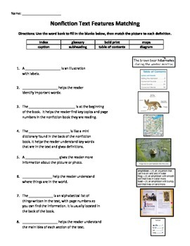 Printables Nonfiction Text Features Worksheets non fiction text features matching by keepin it worksheet a
