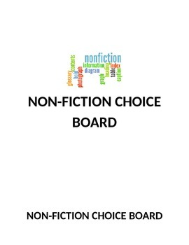 Non-Fiction Reading Response Choice Board