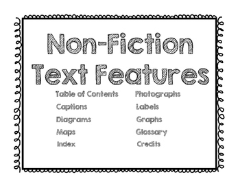 Non-Fiction Text Features Poster