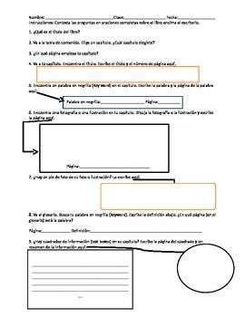 Non Fiction Text Features Test (Spanish)