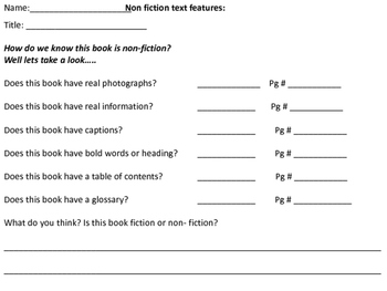 Non Fiction Text features- mini review or assessment
