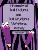 "Non-Fiction Text Features ""Up"" Words Activity (Information"