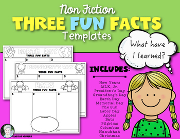 Non Fiction Writing Templates: Three Fun Facts! for Kinder