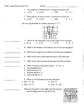 Non-Linear Functions Test
