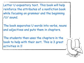 Non fiction Letter U grammar book and sort