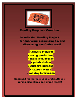 Non-fiction Book Report: Reading Response Pages (genre/boo