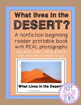 Nonfiction Beginning Reader Printable Book- Deserts