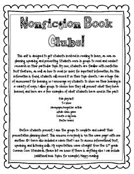 Nonfiction Book Club Activity