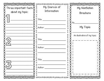 Nonfiction Brochure {Reading Response & Graphic Organizer}
