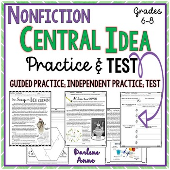 Nonfiction: Central Idea Practice Worksheets and Assessment