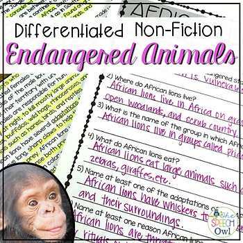 Nonfiction Endangered Animals for Language, Comp, & Vocab