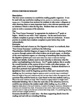 Nonfiction Graphic Organizer 4 Corner Summary