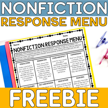 Nonfiction Reading Homework Menu