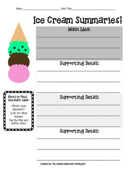 Nonfiction Ice Cream Summaries Using Main Idea and Detail