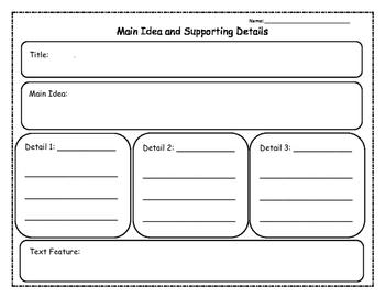 Nonfiction Main Idea and Details Graphic Organizer