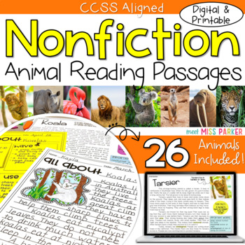 Nonfiction Reading Passages Animals (Common Core)