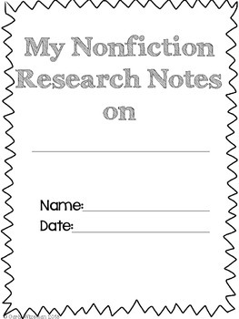 Nonfiction Research Notes Packet