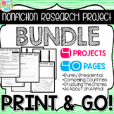 Nonfiction Research Projects BUNDLE - Print & Go - CC Aligned