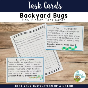 May Centers Nonfiction Task Cards Insects