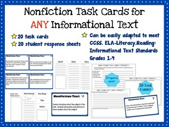 Nonfiction Task Cards for any Informational text -with stu
