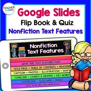 Google Classroom Nonfiction Text Features Flip Book & Quiz