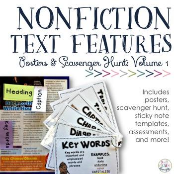 Nonfiction Text Features: Posters & Scavenger Hunt