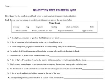 Nonfiction Text Features: Quiz